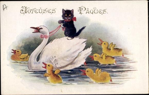 Artist Postcard Frohe Ostern Schwarze Katze Reitet Auf Akpool Co Uk