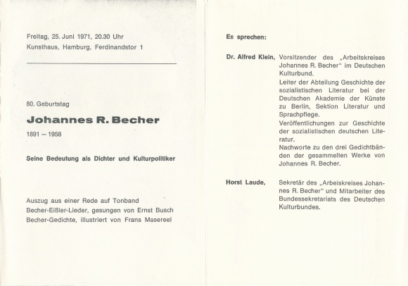 Klapp Postcard Johannes R Becher Dichter Akpoolcouk