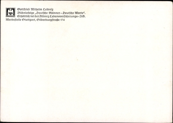 Artist Postcard Gottfried Wilhelm Leibniz Zitat Uber Akpool Co Uk