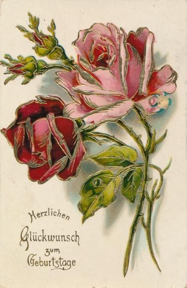 Postcard Glückwunsch Geburtstag Rosenblüten Blumen