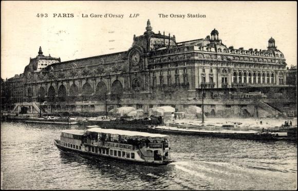 carte postale paris la gare d 39 orsay bateau vapeur. Black Bedroom Furniture Sets. Home Design Ideas
