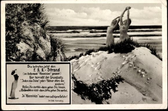 Postcard FKK Strand, Abessinien, Frauen oben ohne