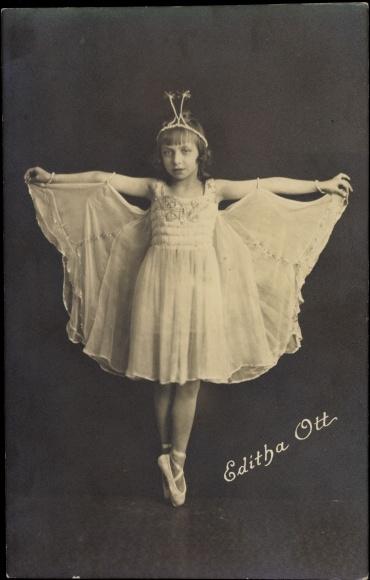 foto ansichtskarte postkarte ballettt nzerin editha ott kind m dchen kost m sch. Black Bedroom Furniture Sets. Home Design Ideas